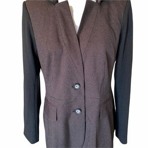 Tobias Houndstooth Color blocked butting down Preppy  Womens blazer